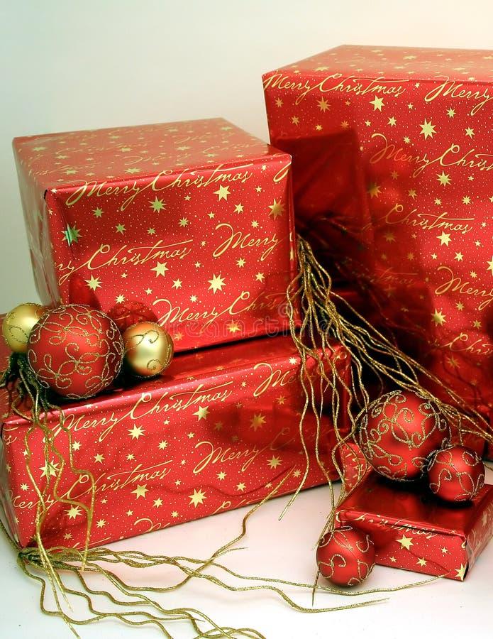 1 Świąt ornaments7 pudełka przedstawiają serii fotografia stock