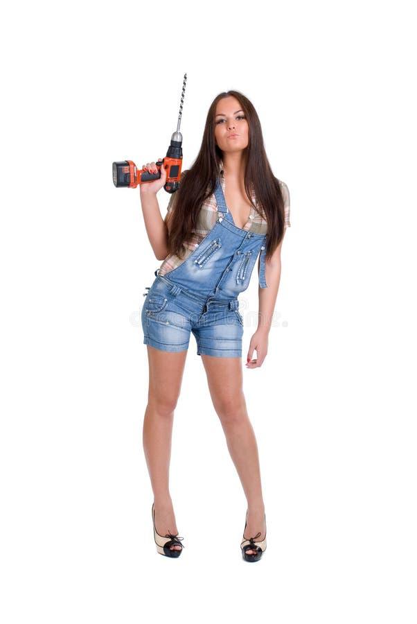 (1) świderu mienia kobieta fotografia royalty free
