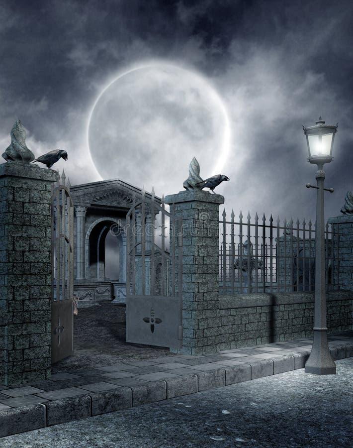 1 γοτθικό νεκροταφείο διανυσματική απεικόνιση