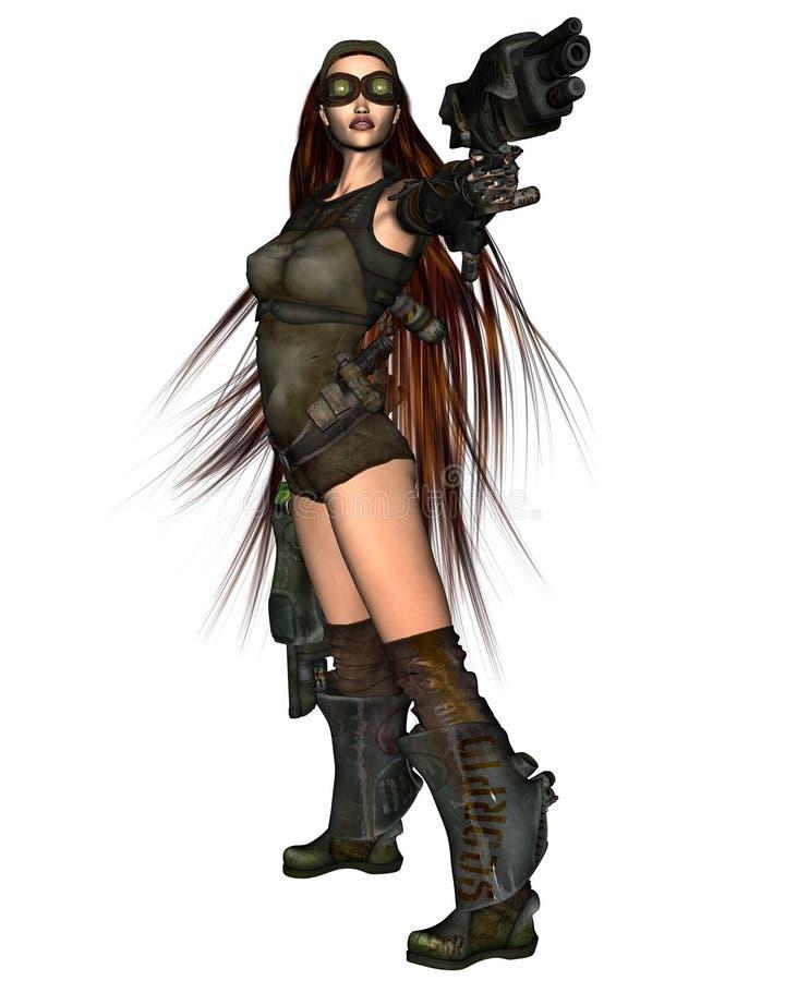 1 γυναίκα cyberpunk απεικόνιση αποθεμάτων