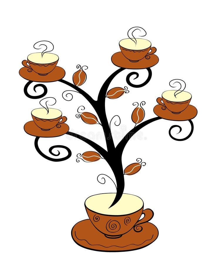1 δέντρο φλυτζανιών καφέ ελεύθερη απεικόνιση δικαιώματος