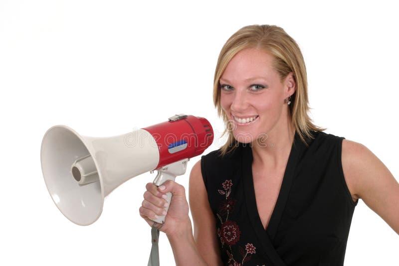 1 επιχειρησιακό megaphone χαμογελώντας γυναίκα στοκ φωτογραφία με δικαίωμα ελεύθερης χρήσης