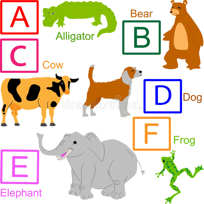 1 ζωικό μέρος 4 αλφάβητου ελεύθερη απεικόνιση δικαιώματος