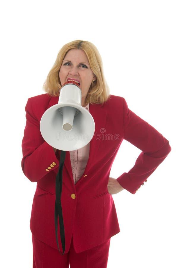 1 ξανθή επιχειρησιακό megaphone γυ στοκ φωτογραφίες