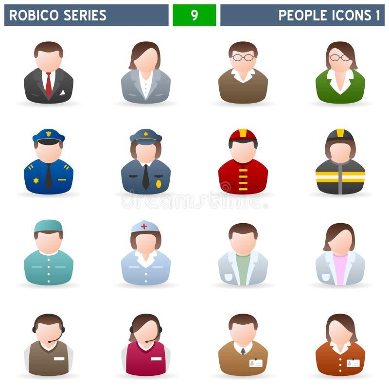 1 σειρά robico ανθρώπων εικονιδί&om ελεύθερη απεικόνιση δικαιώματος