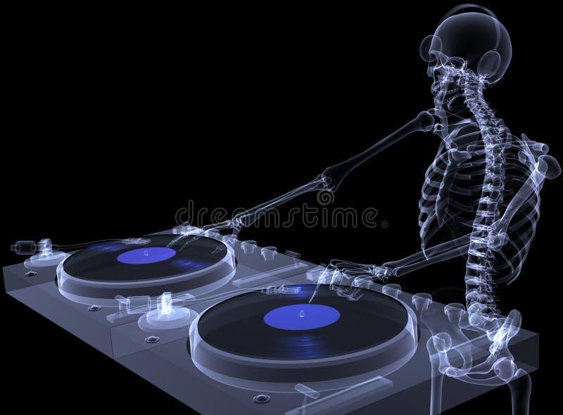 1 σκελετός Χ ακτίνων του DJ διανυσματική απεικόνιση