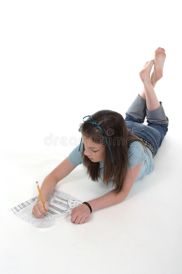 1 детеныш сочинительства девушки чертежа стоковые изображения