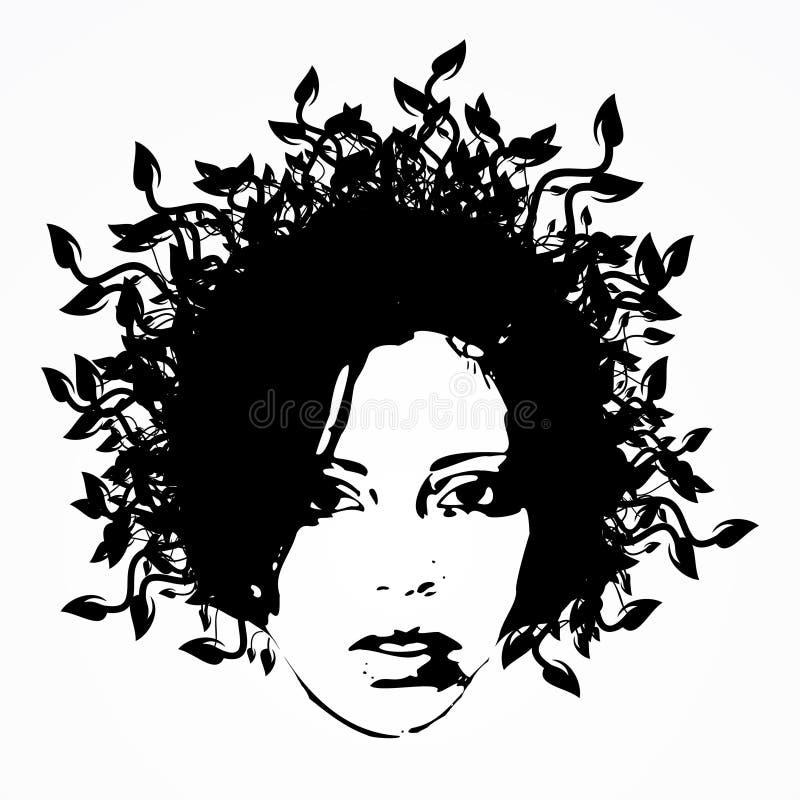 1 женщина стороны флористическая бесплатная иллюстрация