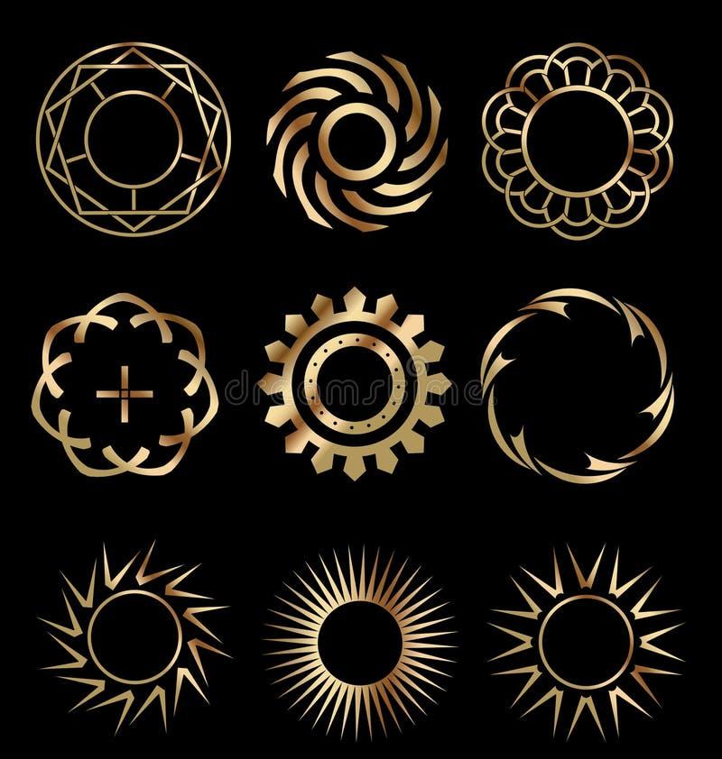 1 золото элементов конструкции иллюстрация штока