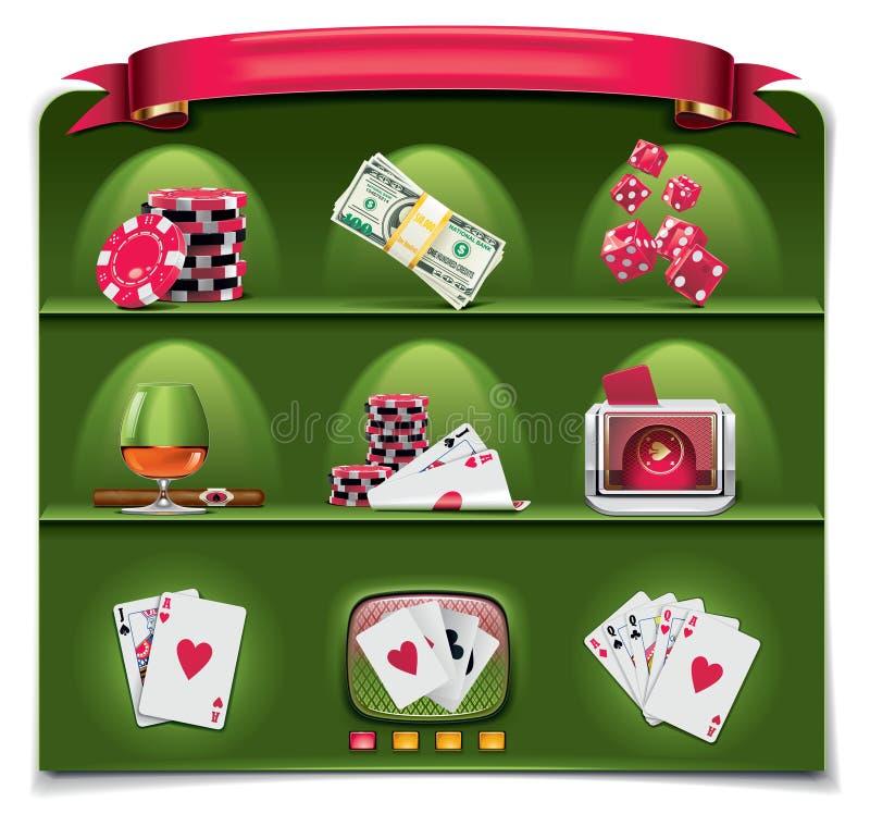 1 играя в азартные игры вектор зеленой части иконы установленный бесплатная иллюстрация