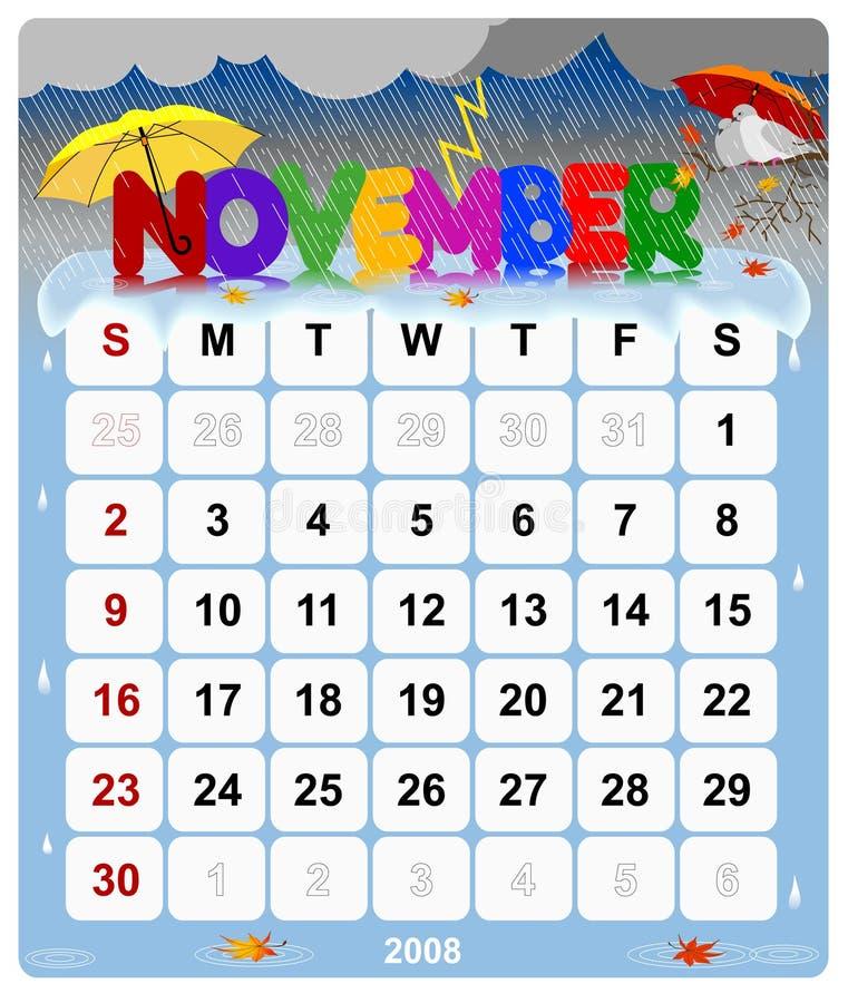 1 календар ежемесячный ноябрь иллюстрация штока