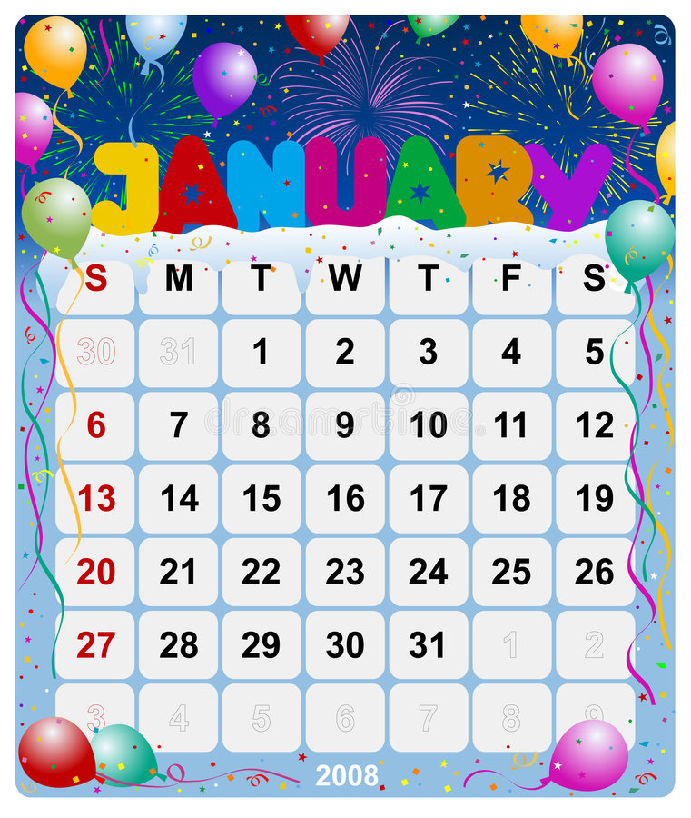 1 календар январь ежемесячный бесплатная иллюстрация