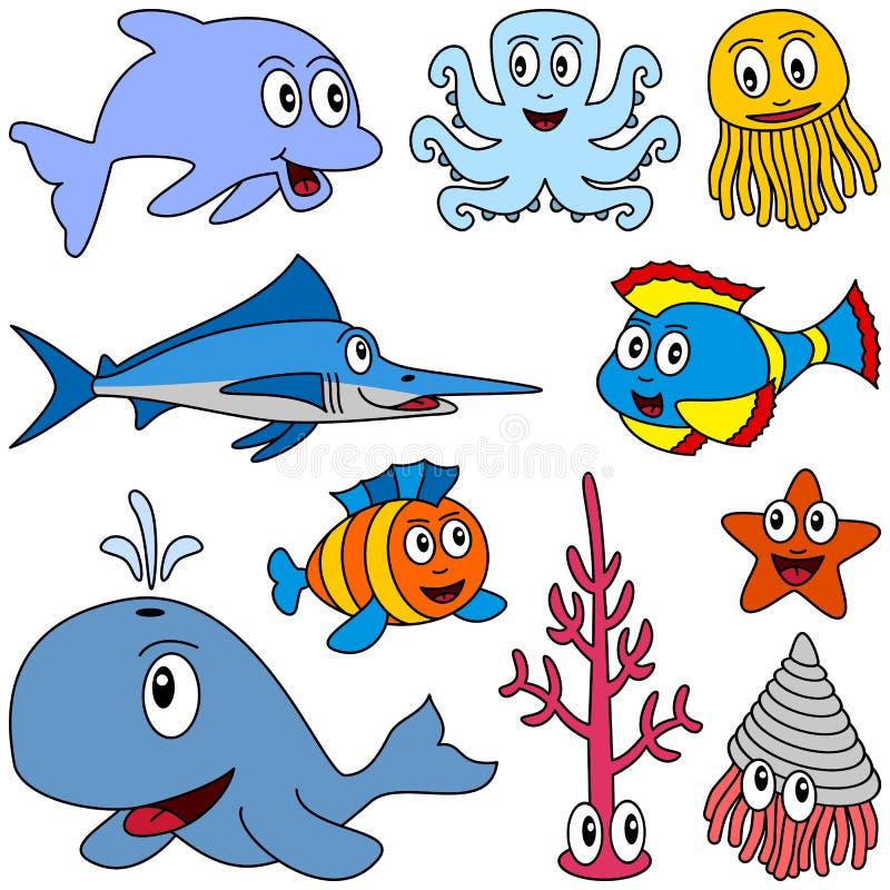 1 комплект морского пехотинца шаржа животных иллюстрация вектора