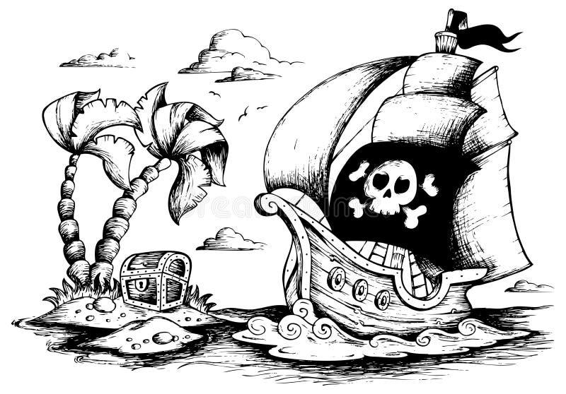 Картинки с пиратскими кораблями черно белые