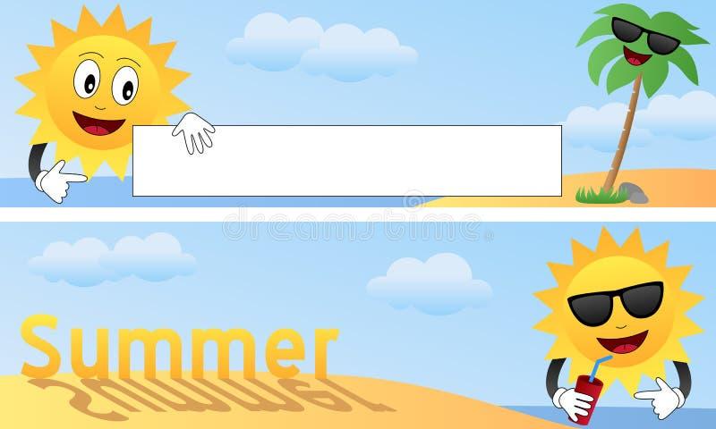 1 лето шаржа знамен иллюстрация вектора