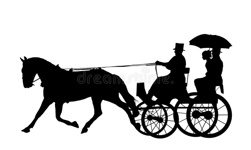 1 лошадь экипажа иллюстрация вектора