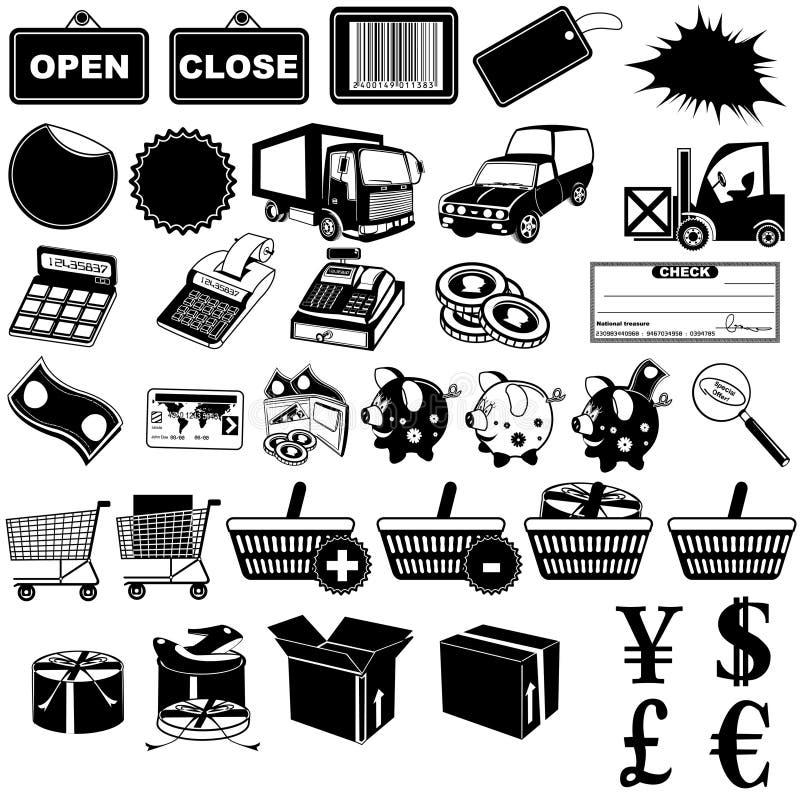1 магазин pictogram икон иллюстрация штока