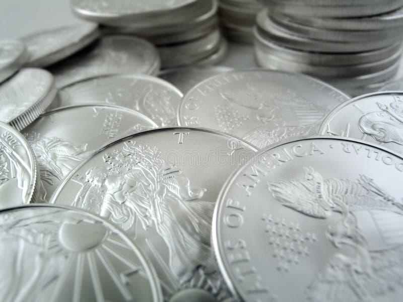 1 орел s серебряный u весовых монет стоковые фотографии rf