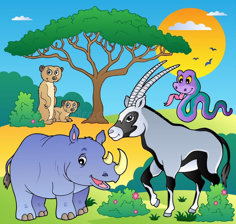 1 пейзаж саванны животных бесплатная иллюстрация