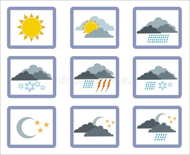 1 погода иконы иллюстрация штока