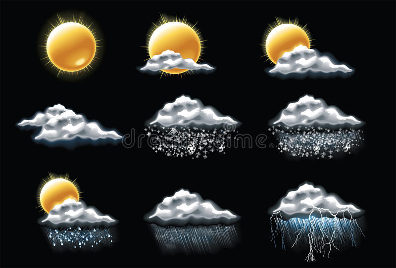 1 прогнозировало погоду вектора части икон иллюстрация вектора