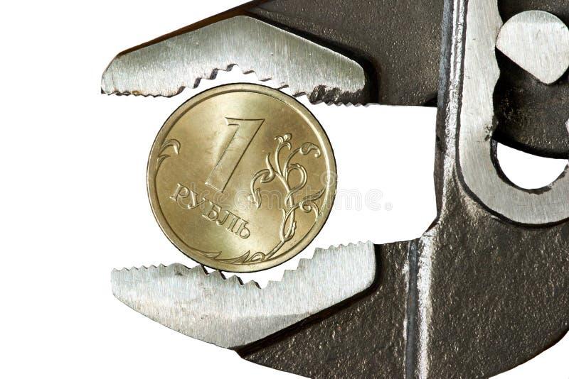 1 регулируемый гаечный ключ рублевки стоковая фотография rf