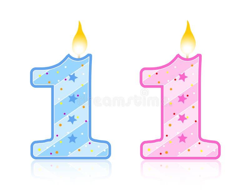 1 свечка дня рождения иллюстрация вектора