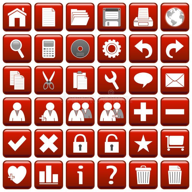 1 сеть красного квадрата кнопок иллюстрация штока