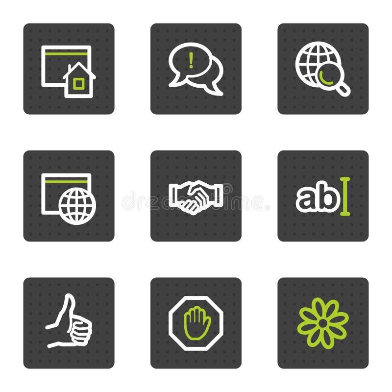1 сеть установленного квадрата интернета икон кнопок серая бесплатная иллюстрация