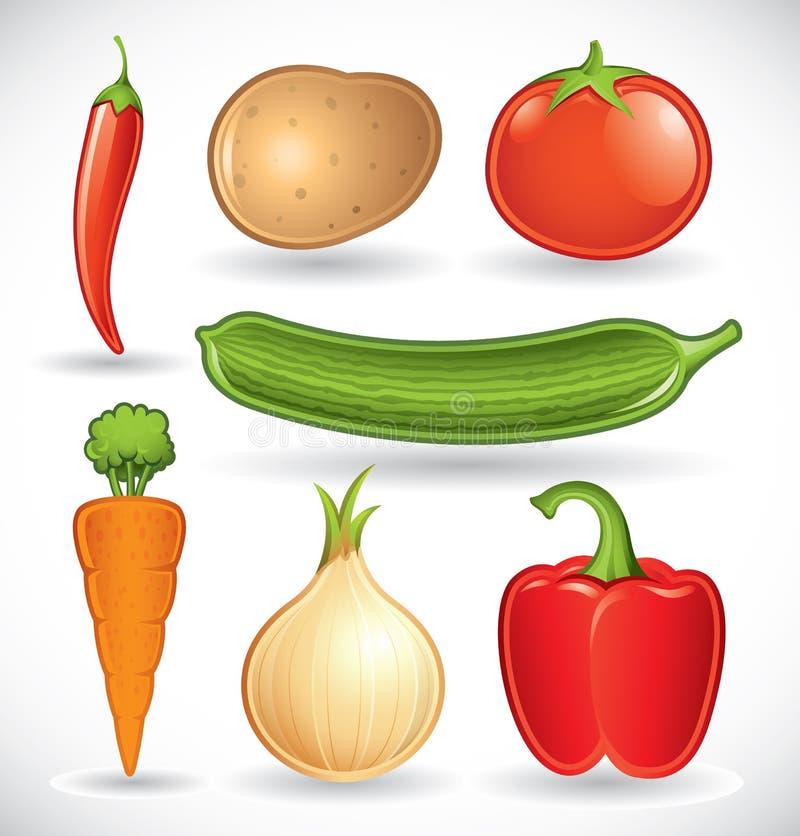 1 смешанные установленные овощи иллюстрация штока