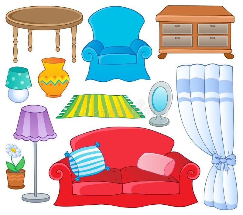 1 тема мебели собрания иллюстрация вектора