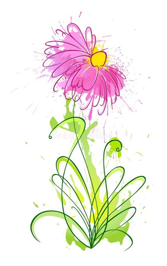 1 цветок помарками иллюстрация вектора