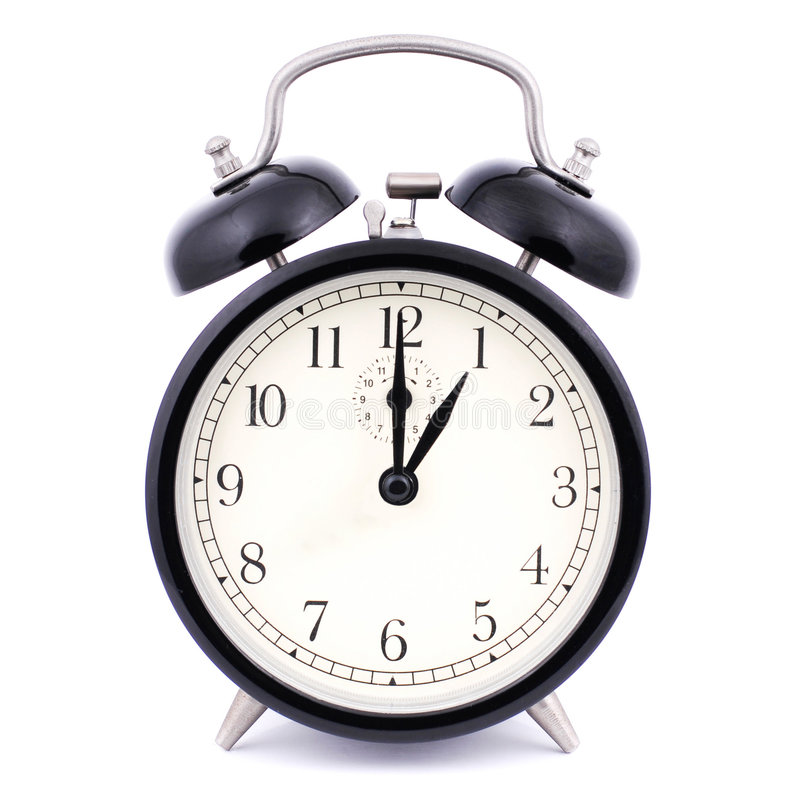 Free 1: 00 High Detail Traditional Alarm Clock Royalty Free Stock Photography - 7829717