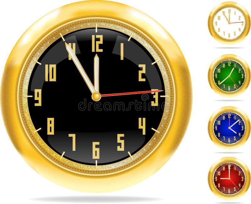 1 10个ai时钟金黄集向量 皇族释放例证