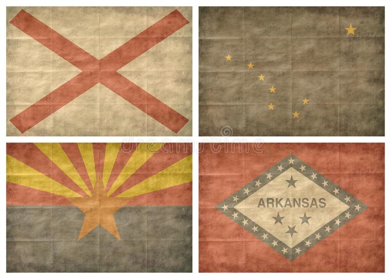 1/13 US state flags stock image