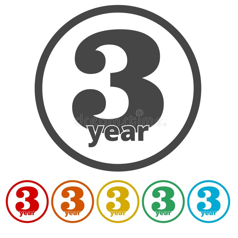 Free 1, 2, 3, 4, 5 Years And Lifetime Warranty Label Or Seal Flat Icons Set Stock Photos - 143073673