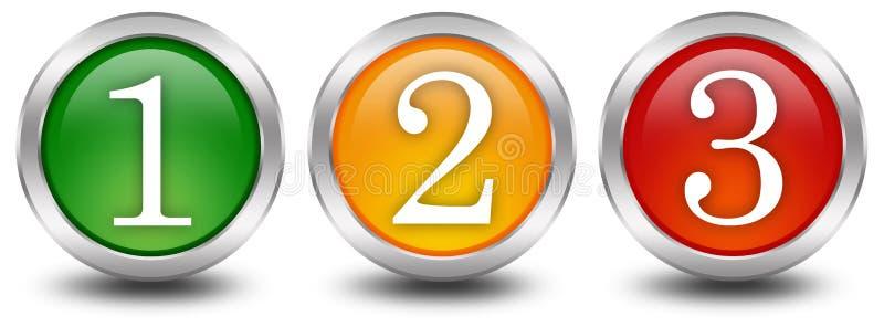 1 2 3 nummer ett tre två stock illustrationer