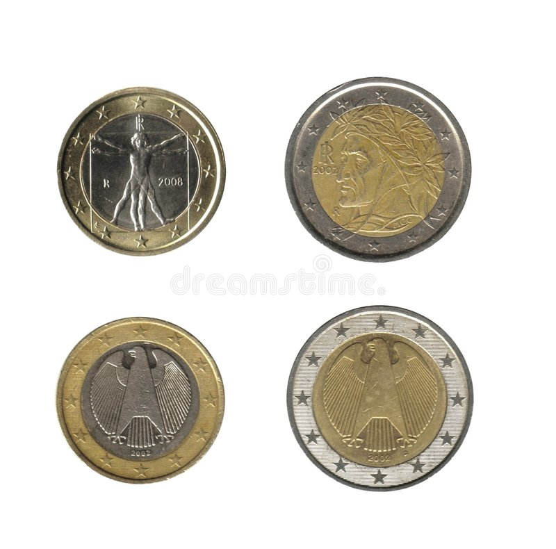 1, 2 euro- moedas fotos de stock royalty free