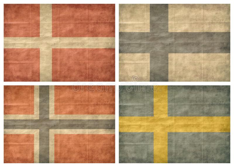 1/2 Nordic countries flags. Nordic countries retro flags isolated on white background. Denmark, Finland, Norway, Sweden The Nordic countries make up a region in stock illustration