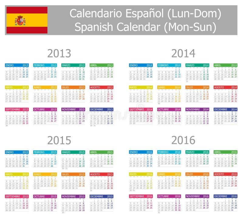 1 2013 тип солнца понедельника 2016 календаров испанский иллюстрация штока