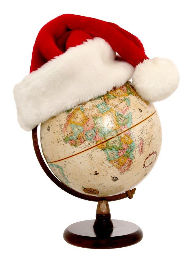 1 3个地球帽子圣诞老人 免版税库存图片