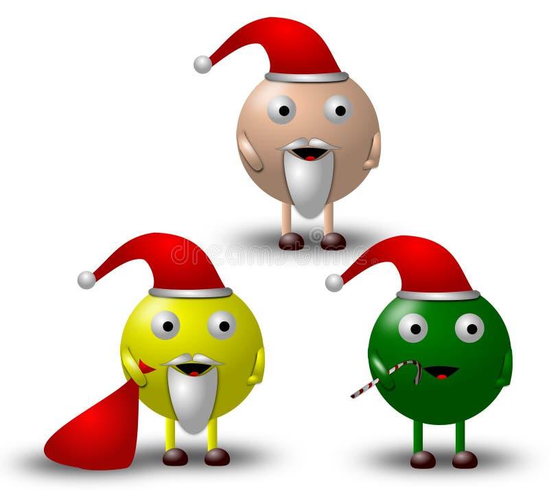 1 3个漫画人物圣诞节例证 免版税库存图片