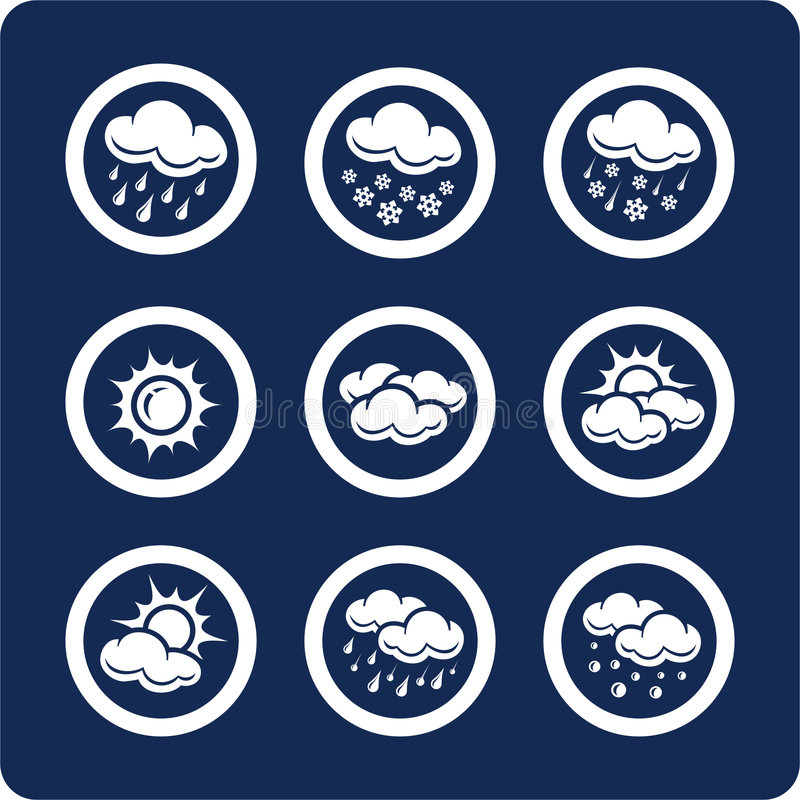 1 7 ikon zestawy części pogoda royalty ilustracja