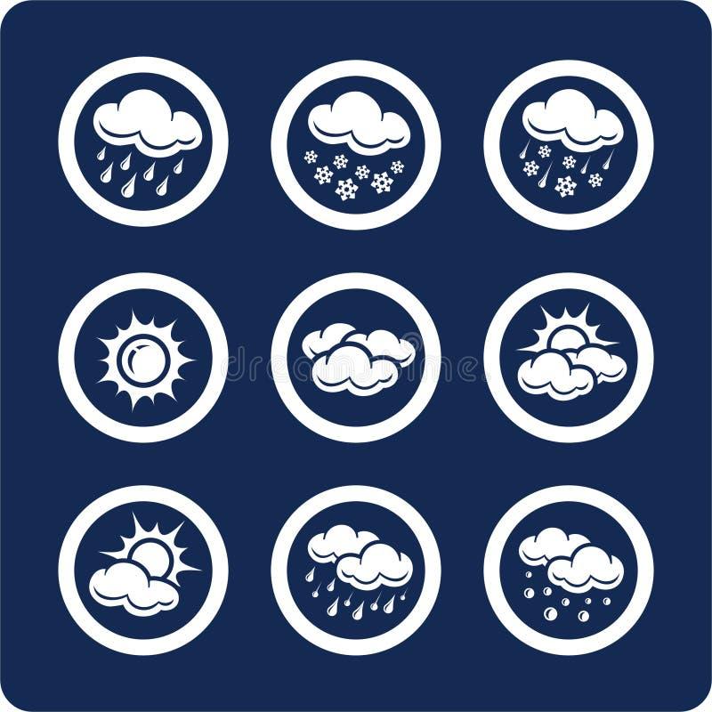 1 7 symboler part setväder royaltyfri illustrationer
