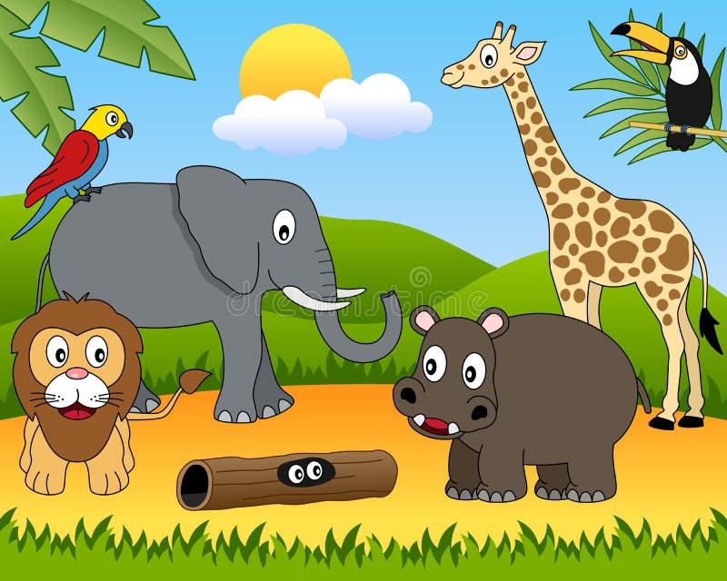 1 afrikandjurgrupp stock illustrationer