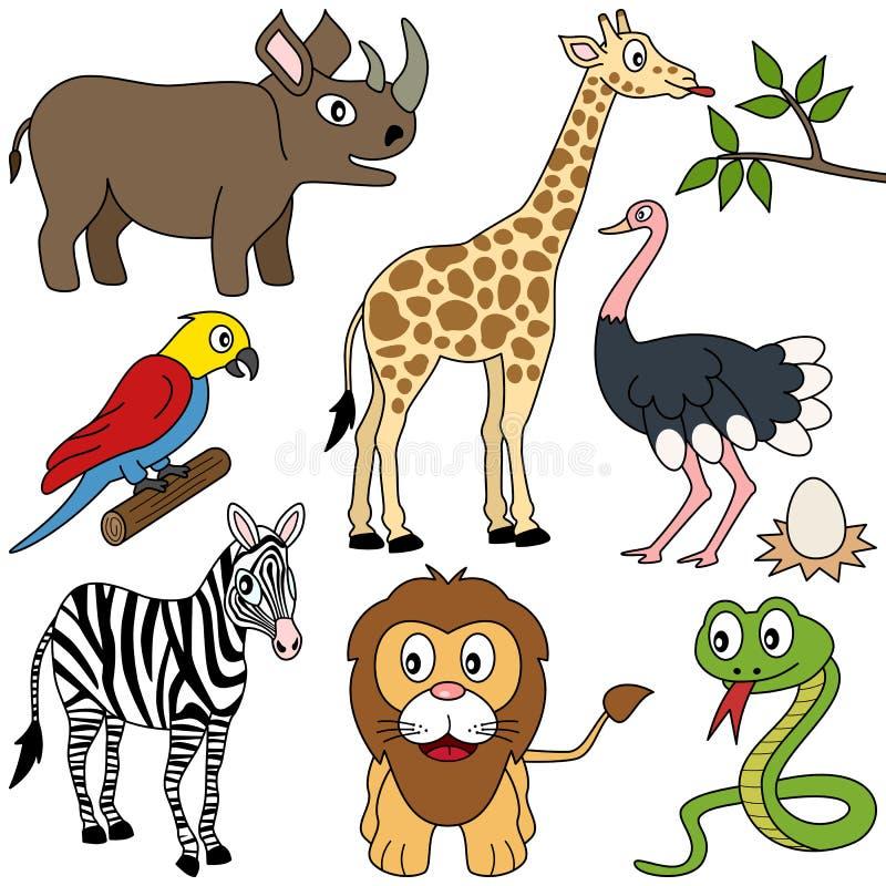 1 afrikandjursamling stock illustrationer