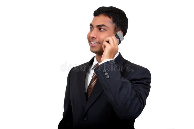 1 använda för man för affärsmobiltelefon indiska arkivfoton