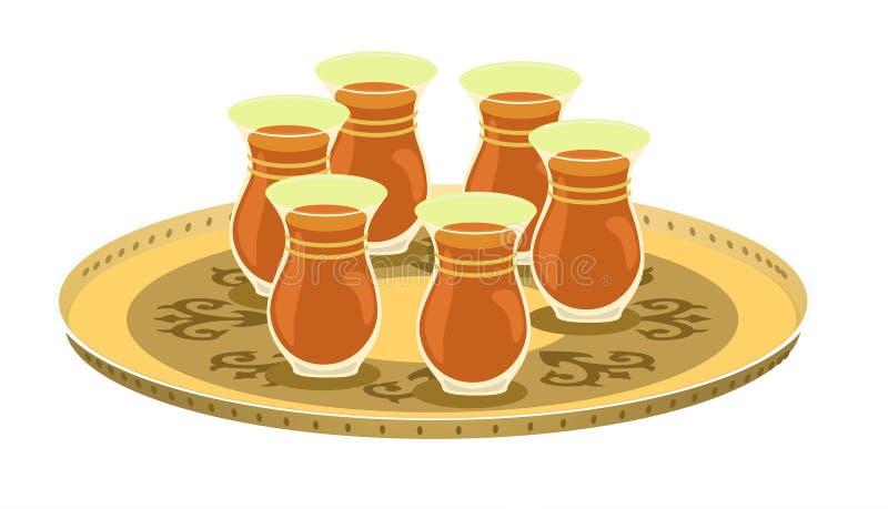 (1) arabian dekorująca szkieł herbaciana taca royalty ilustracja