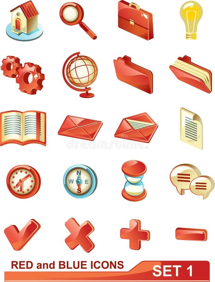 (1) błękit ikon czerwieni set royalty ilustracja