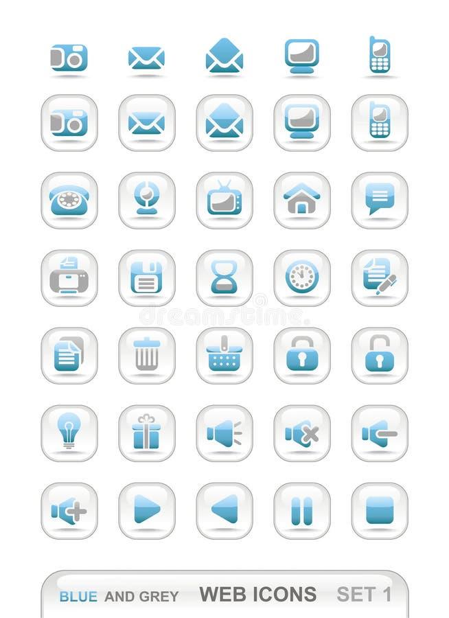 (1) błękitny grey ikony ustawiają sieć obrazy stock